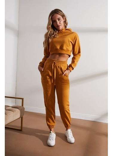 Setre Koyu Hardal Crop Sweatshirt Jogger Pantolon Takım Hardal